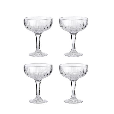 Relief glass -champagne bowl 4 pcs